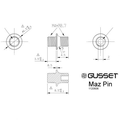 Gusset Maz pins technical drawing